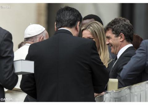 Антоніо Бандерас на загальній аудієнції в Папи