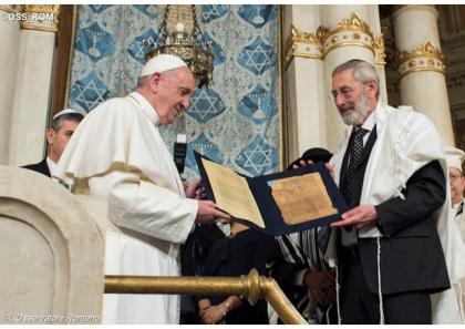 Папа Франциск привітав єврейську громаду Риму з нагоди Пасхи